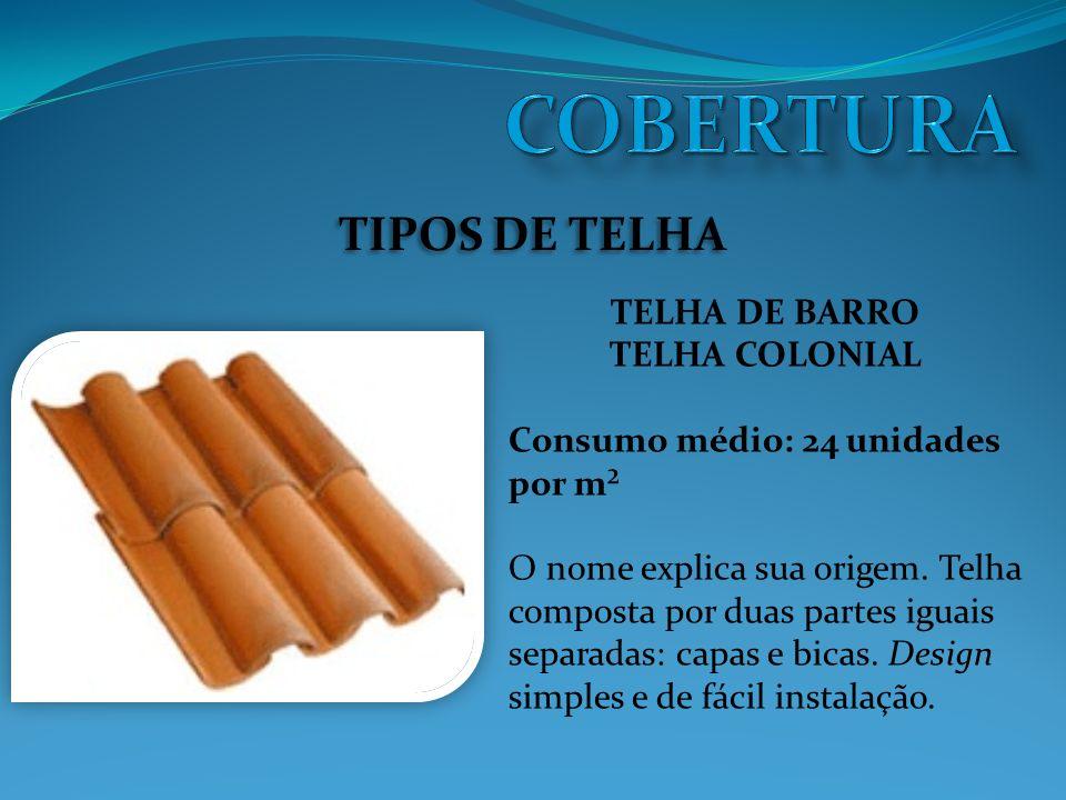 TIPOS DE TELHA TELHA DE BARRO TELHA COLONIAL Consumo médio: 24 unidades por m² O nome explica sua origem.