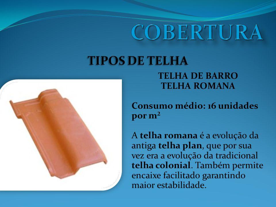 TIPOS DE TELHA TELHA ESMALTADA Tratamento especial à base de poliéster que permite colorir telhas.