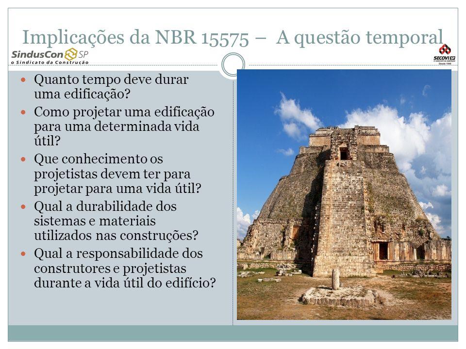 Implicações da NBR 15575 – A questão temporal Quanto tempo deve durar uma edificação? Como projetar uma edificação para uma determinada vida útil? Que