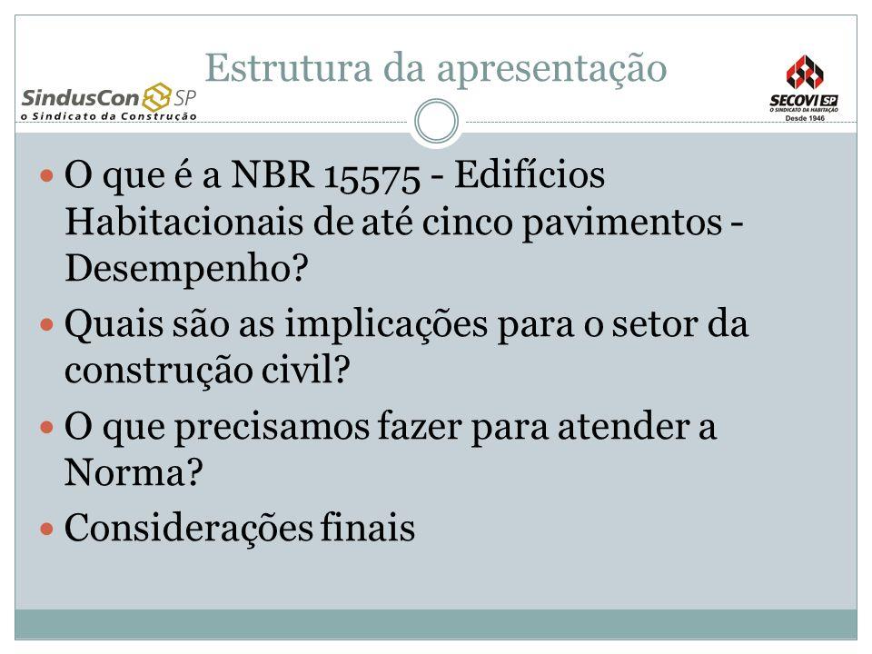 Estrutura da apresentação O que é a NBR 15575 - Edifícios Habitacionais de até cinco pavimentos - Desempenho? Quais são as implicações para o setor da