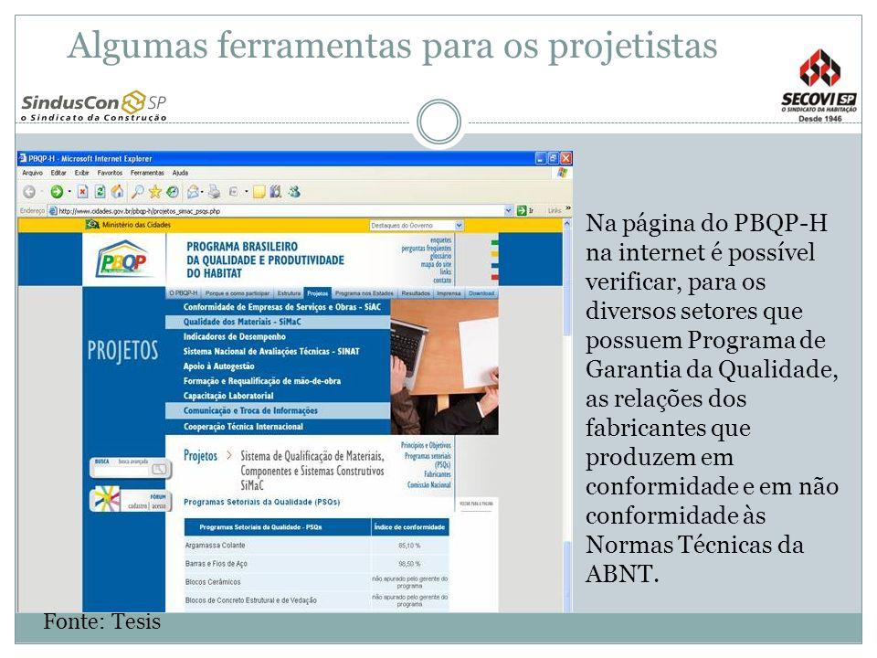Na página do PBQP-H na internet é possível verificar, para os diversos setores que possuem Programa de Garantia da Qualidade, as relações dos fabrican