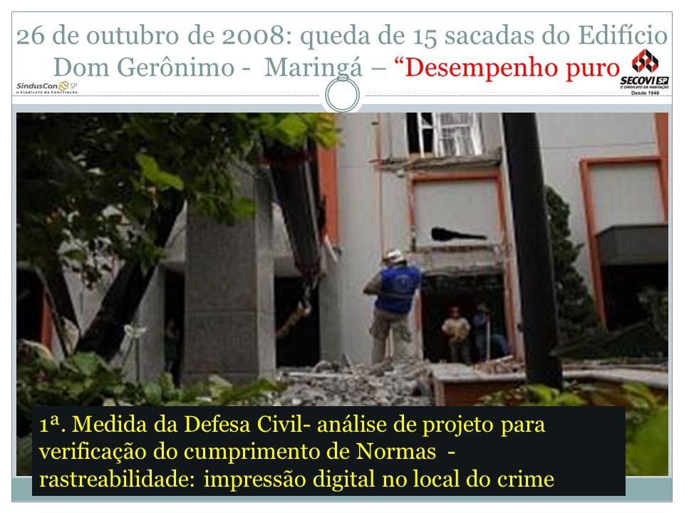 26 de outubro de 2008: queda de 15 sacadas do Edifício Dom Gerônimo - Maringá – Desempenho puro 1ª. Medida da Defesa Civil- análise de projeto para ve