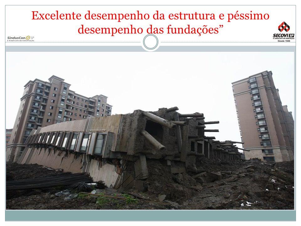 Excelente desempenho da estrutura e péssimo desempenho das fundações