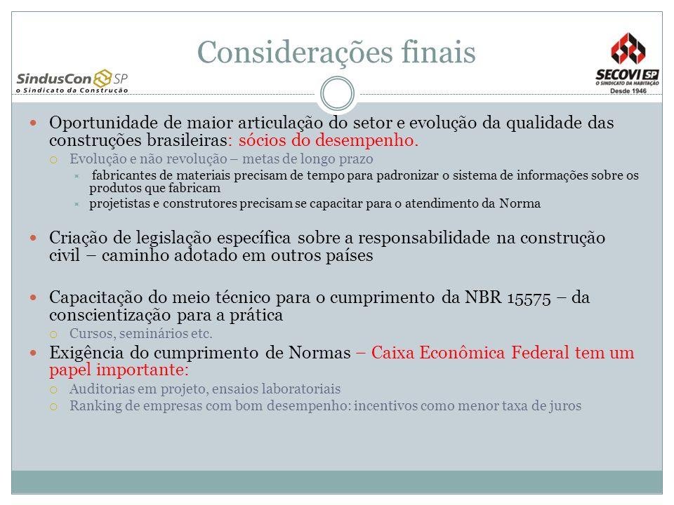 Considerações finais Oportunidade de maior articulação do setor e evolução da qualidade das construções brasileiras: sócios do desempenho. Evolução e