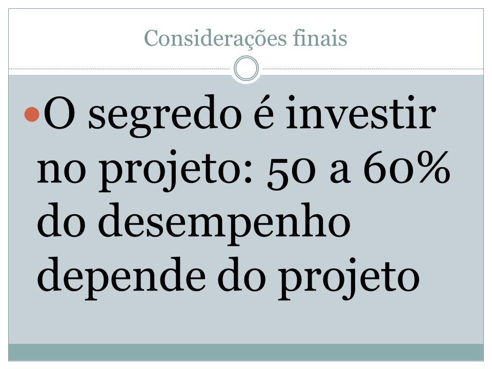 Considerações finais O segredo é investir no projeto: 50 a 60% do desempenho depende do projeto