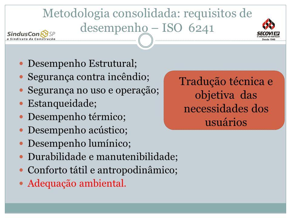 Metodologia consolidada: requisitos de desempenho – ISO 6241 Desempenho Estrutural; Segurança contra incêndio; Segurança no uso e operação; Estanqueid