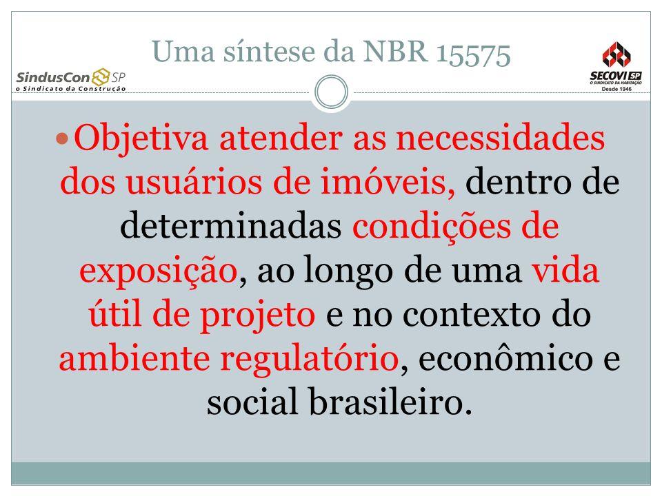 Uma síntese da NBR 15575 Objetiva atender as necessidades dos usuários de imóveis, dentro de determinadas condições de exposição, ao longo de uma vida útil de projeto e no contexto do ambiente regulatório, econômico e social brasileiro.