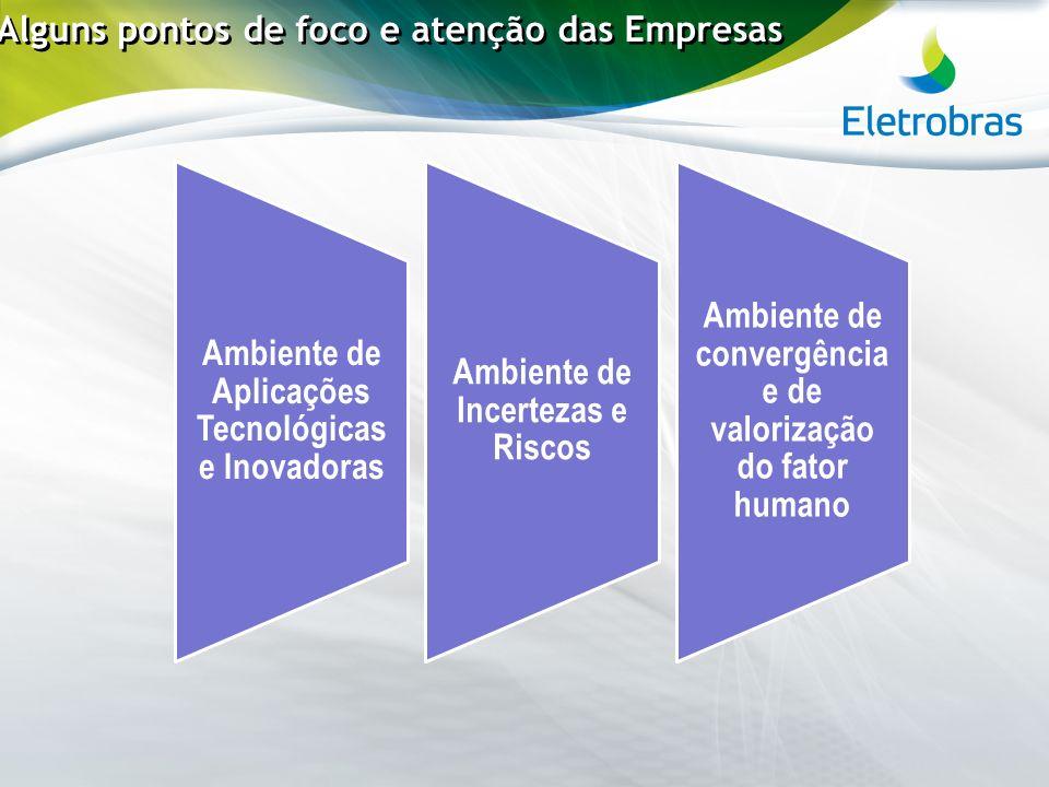 Alguns pontos de foco e atenção das Empresas Ambiente de Aplicações Tecnológicas e Inovadoras Ambiente de Incertezas e Riscos Ambiente de convergência
