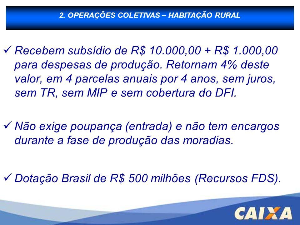 B - Financiamento à Produção Recebem subsídio de R$ 10.000,00 + R$ 1.000,00 para despesas de produção. Retornam 4% deste valor, em 4 parcelas anuais p