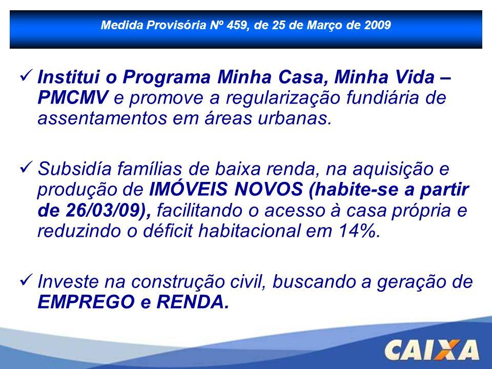 B - Financiamento à Produção Institui o Programa Minha Casa, Minha Vida – PMCMV e promove a regularização fundiária de assentamentos em áreas urbanas.