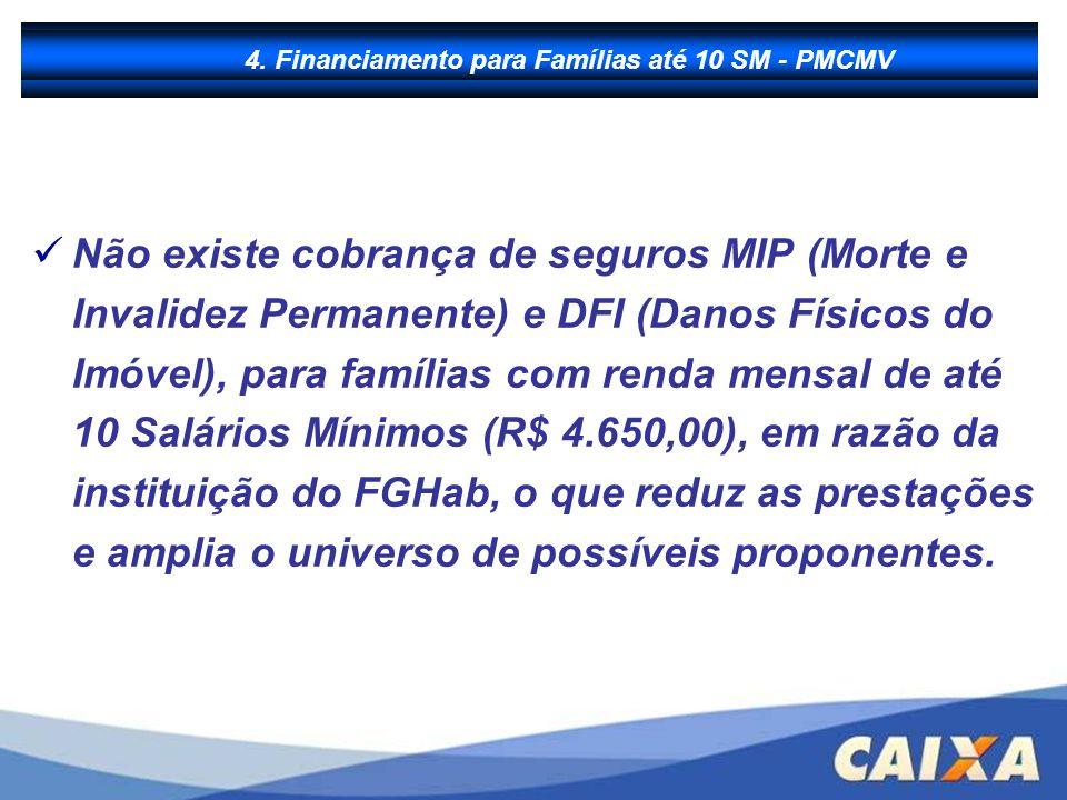 B - Financiamento à Produção Não existe cobrança de seguros MIP (Morte e Invalidez Permanente) e DFI (Danos Físicos do Imóvel), para famílias com rend