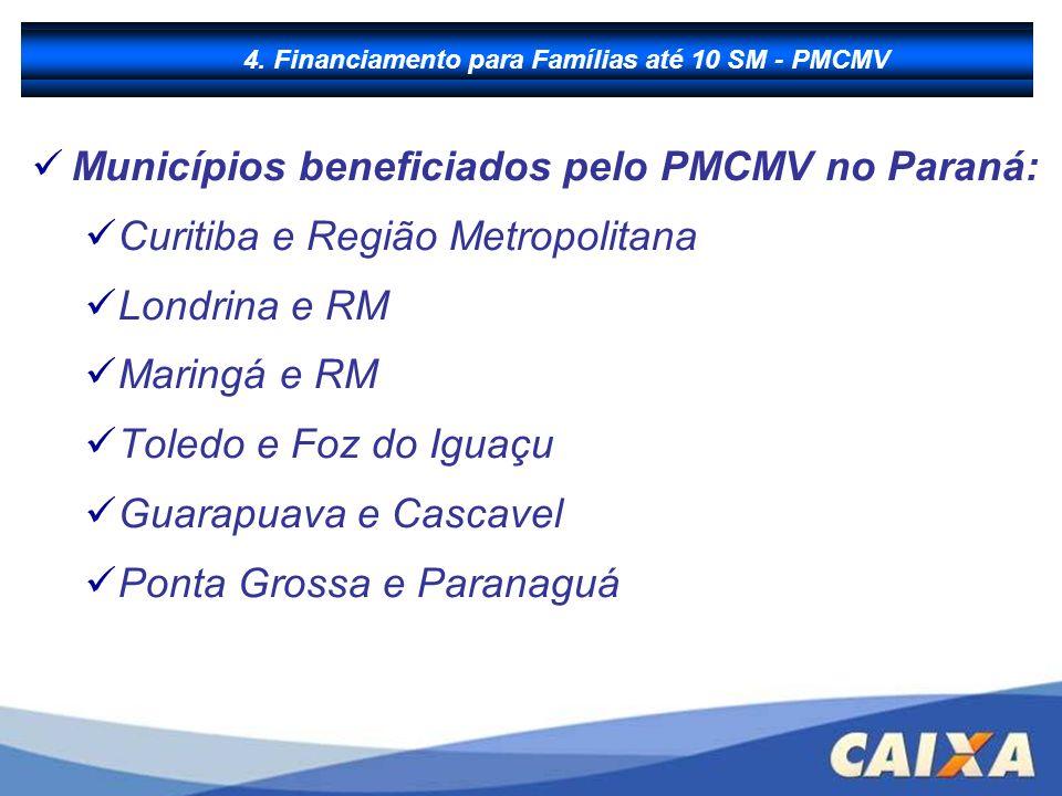 B - Financiamento à Produção Municípios beneficiados pelo PMCMV no Paraná: Curitiba e Região Metropolitana Londrina e RM Maringá e RM Toledo e Foz do