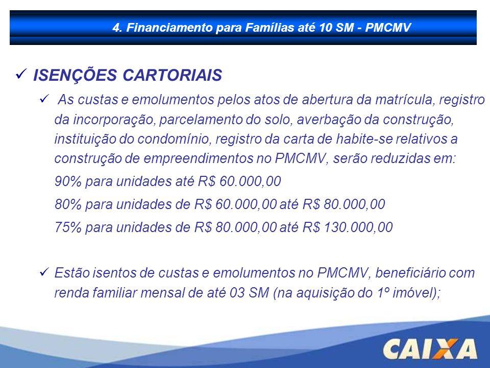 B - Financiamento à Produção ISENÇÕES CARTORIAIS As custas e emolumentos pelos atos de abertura da matrícula, registro da incorporação, parcelamento d