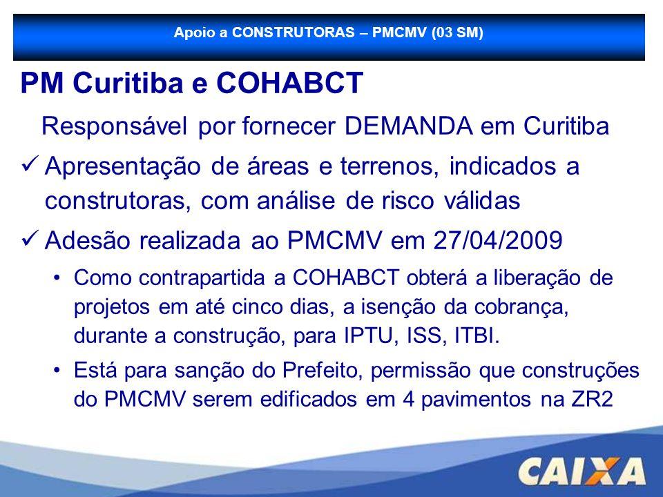 PM Curitiba e COHABCT Responsável por fornecer DEMANDA em Curitiba Apresentação de áreas e terrenos, indicados a construtoras, com análise de risco vá