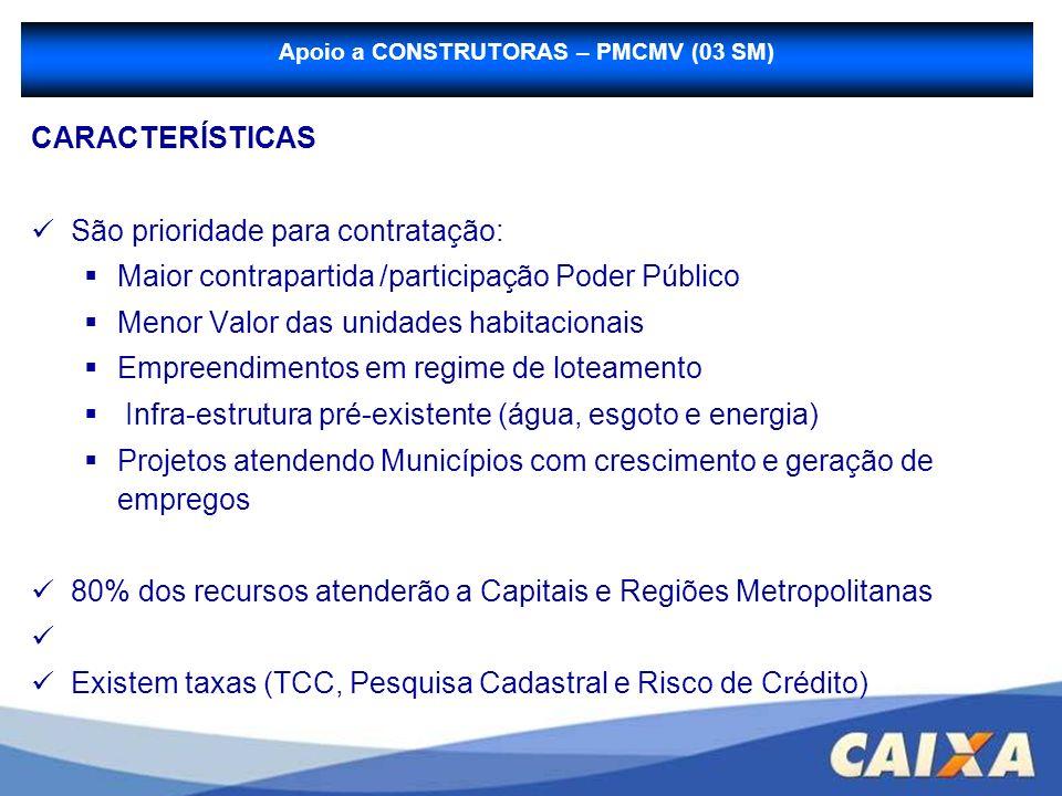 CARACTERÍSTICAS São prioridade para contratação: Maior contrapartida /participação Poder Público Menor Valor das unidades habitacionais Empreendimento