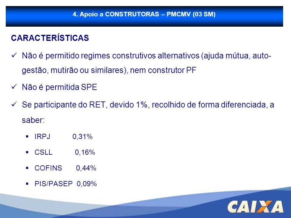 B - Financiamento à Produção CARACTERÍSTICAS Não é permitido regimes construtivos alternativos (ajuda mútua, auto- gestão, mutirão ou similares), nem