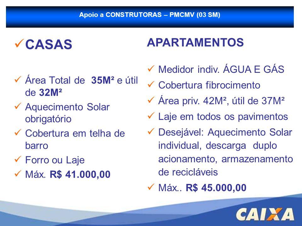 Apoio a CONSTRUTORAS – PMCMV (03 SM) CASAS Área Total de 35M² e útil de 32M² Aquecimento Solar obrigatório Cobertura em telha de barro Forro ou Laje M