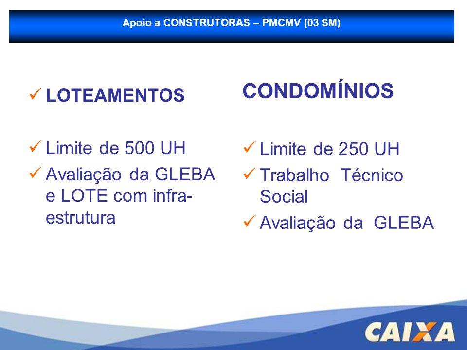 Apoio a CONSTRUTORAS – PMCMV (03 SM) LOTEAMENTOS Limite de 500 UH Avaliação da GLEBA e LOTE com infra- estrutura CONDOMÍNIOS Limite de 250 UH Trabalho