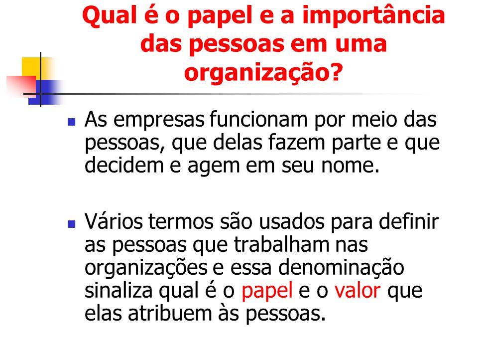 Qual é o papel e a importância das pessoas em uma organização? As empresas funcionam por meio das pessoas, que delas fazem parte e que decidem e agem