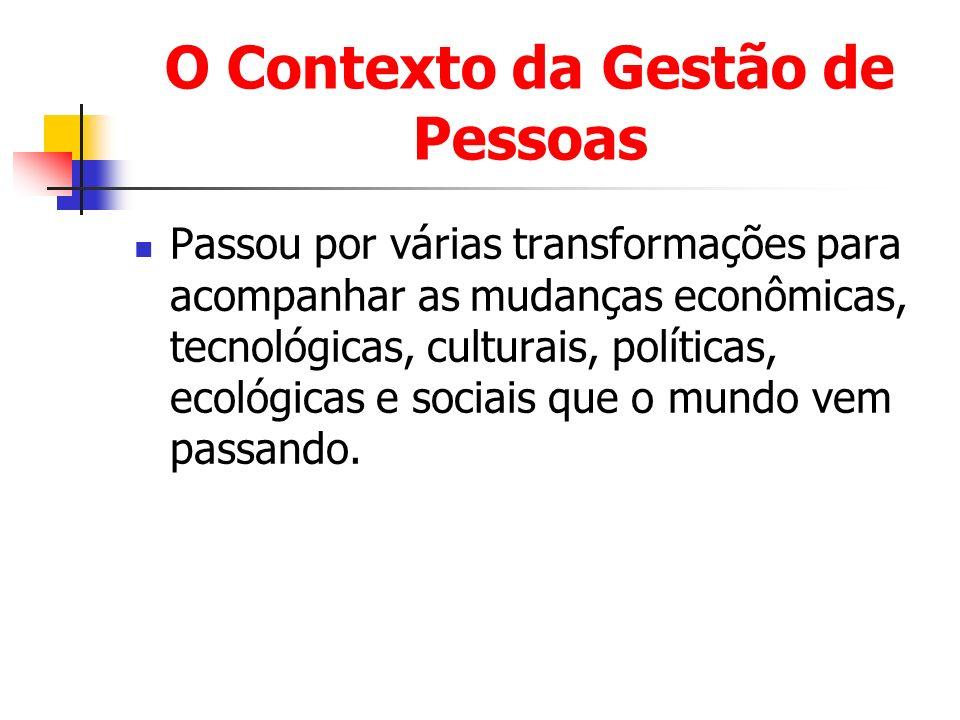 O Contexto da Gestão de Pessoas Passou por várias transformações para acompanhar as mudanças econômicas, tecnológicas, culturais, políticas, ecológica