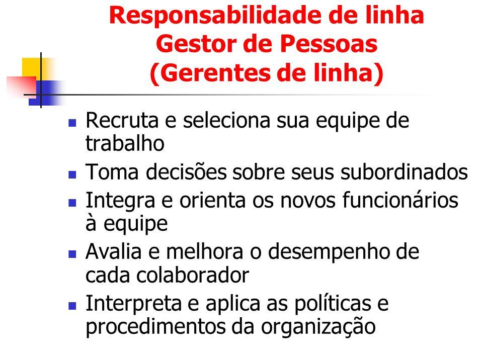 Responsabilidade de linha Gestor de Pessoas (Gerentes de linha) Recruta e seleciona sua equipe de trabalho Toma decisões sobre seus subordinados Integ