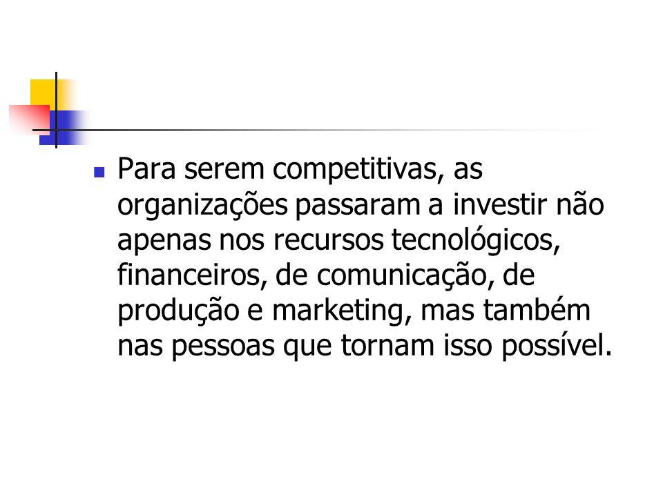 Para serem competitivas, as organizações passaram a investir não apenas nos recursos tecnológicos, financeiros, de comunicação, de produção e marketin
