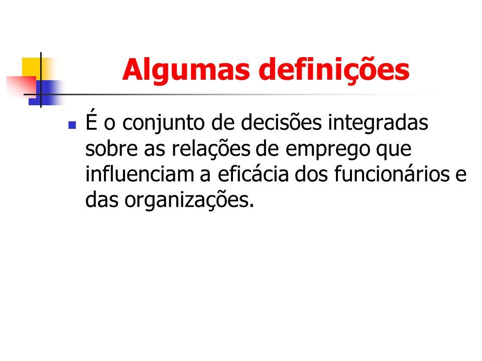 Algumas definições É o conjunto de decisões integradas sobre as relações de emprego que influenciam a eficácia dos funcionários e das organizações.