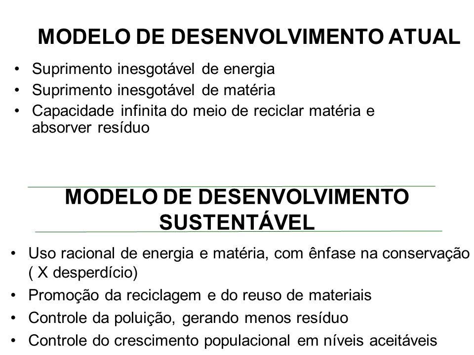 MODELO DE DESENVOLVIMENTO ATUAL Suprimento inesgotável de energia Suprimento inesgotável de matéria Capacidade infinita do meio de reciclar matéria e