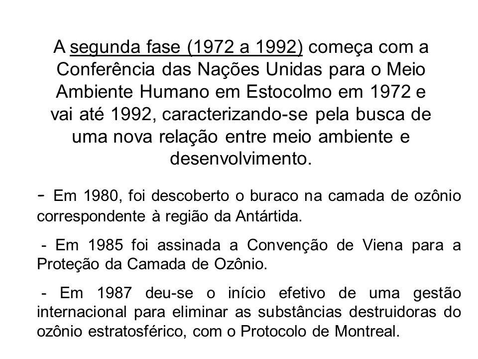 A segunda fase (1972 a 1992) começa com a Conferência das Nações Unidas para o Meio Ambiente Humano em Estocolmo em 1972 e vai até 1992, caracterizand