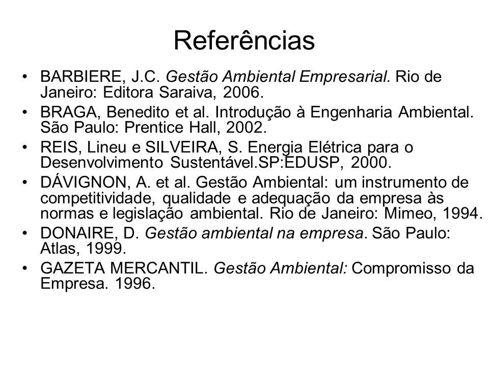 Referências BARBIERE, J.C. Gestão Ambiental Empresarial. Rio de Janeiro: Editora Saraiva, 2006. BRAGA, Benedito et al. Introdução à Engenharia Ambient