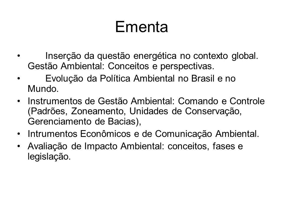 Ementa Inserção da questão energética no contexto global. Gestão Ambiental: Conceitos e perspectivas. Evolução da Política Ambiental no Brasil e no Mu