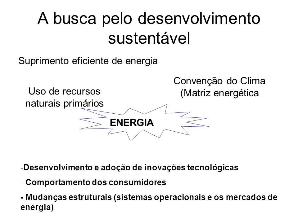 A busca pelo desenvolvimento sustentável Uso de recursos naturais primários Suprimento eficiente de energia ENERGIA Convenção do Clima (Matriz energét