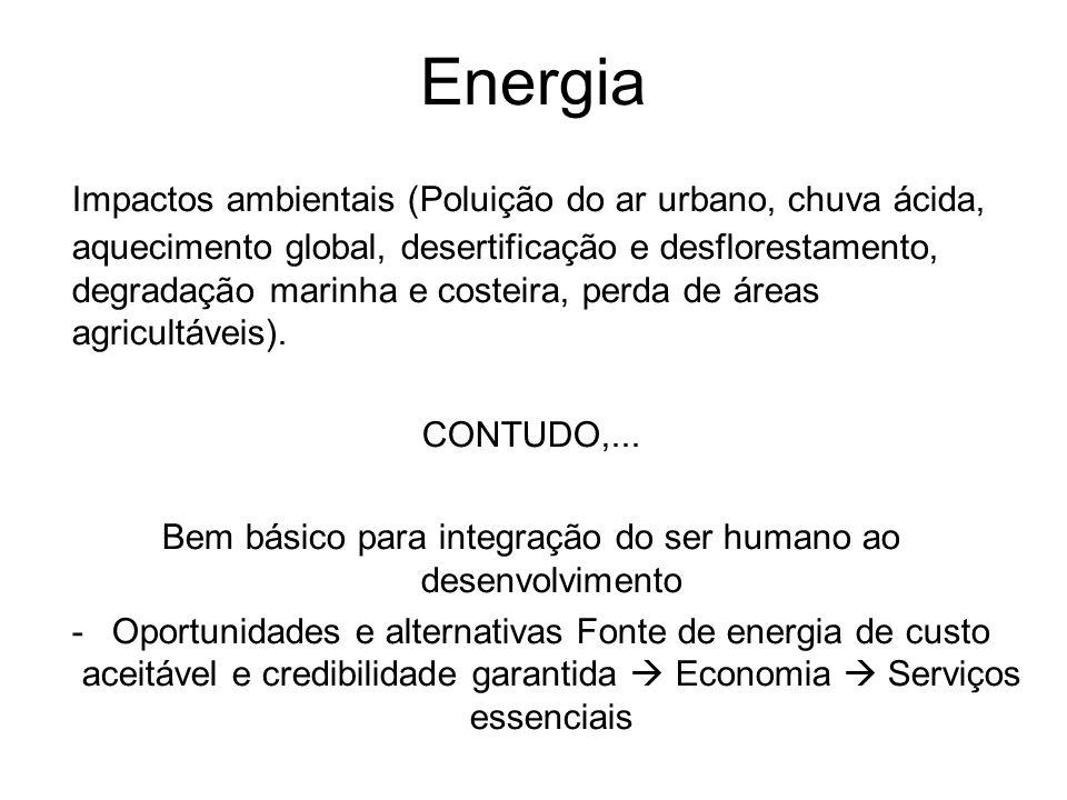 Energia Impactos ambientais (Poluição do ar urbano, chuva ácida, aquecimento global, desertificação e desflorestamento, degradação marinha e costeira,