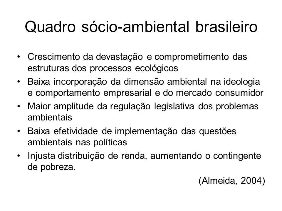 Quadro sócio-ambiental brasileiro Crescimento da devastação e comprometimento das estruturas dos processos ecológicos Baixa incorporação da dimensão a