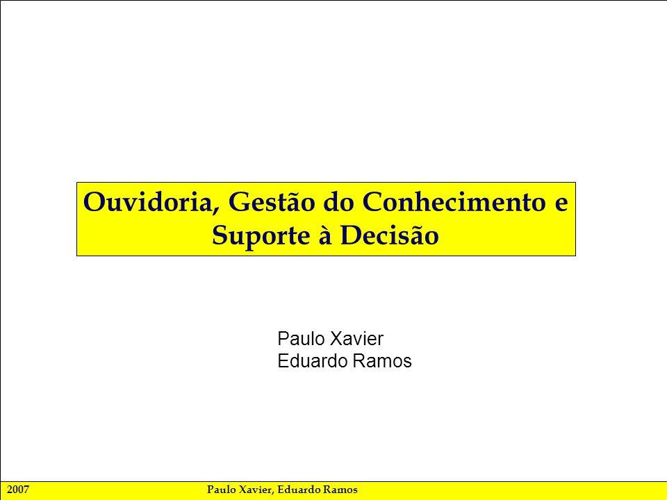 2007Paulo Xavier, Eduardo Ramos Ouvidoria, Gestão do Conhecimento e Suporte à Decisão Paulo Xavier Eduardo Ramos