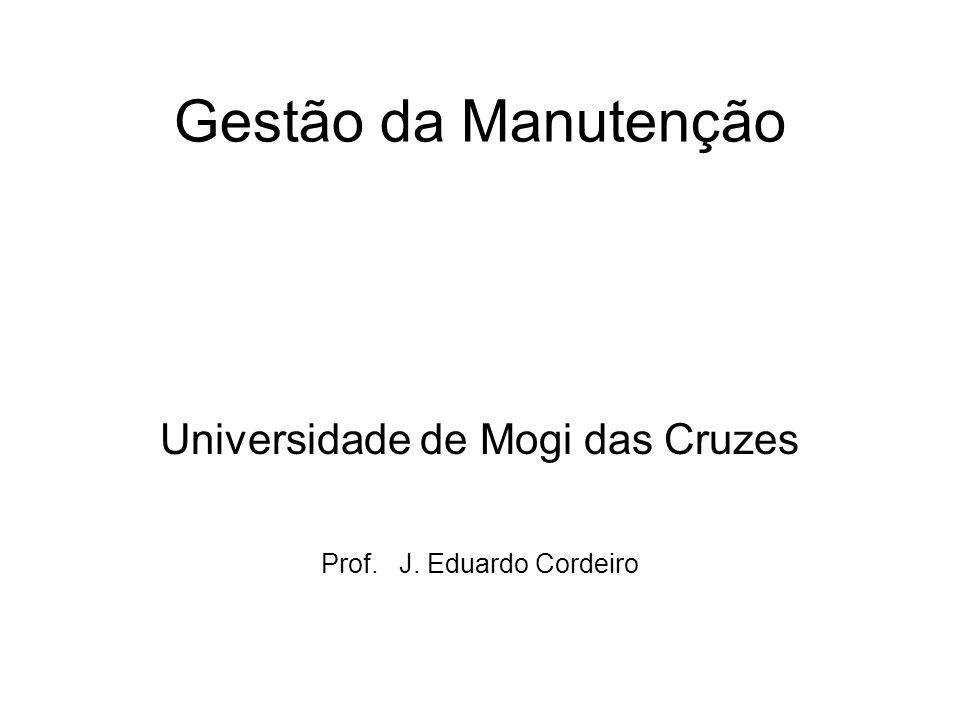Gestão da Manutenção Universidade de Mogi das Cruzes Prof. J. Eduardo Cordeiro