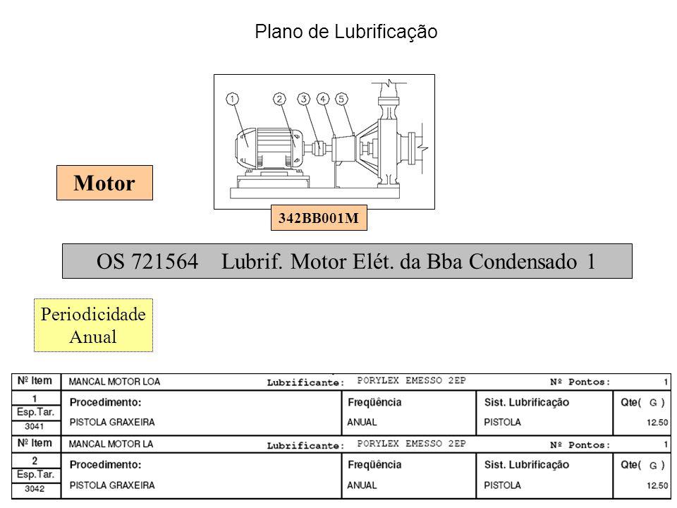 342BB001M OS 721564 Lubrif. Motor Elét. da Bba Condensado 1 Periodicidade Anual Motor Plano de Lubrificação