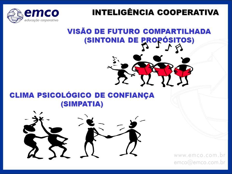 VISÃO DE FUTURO COMPARTILHADA (SINTONIA DE PROPÓSITOS) INTELIGÊNCIA COOPERATIVA CLIMA PSICOLÓGICO DE CONFIANÇA (SIMPATIA)