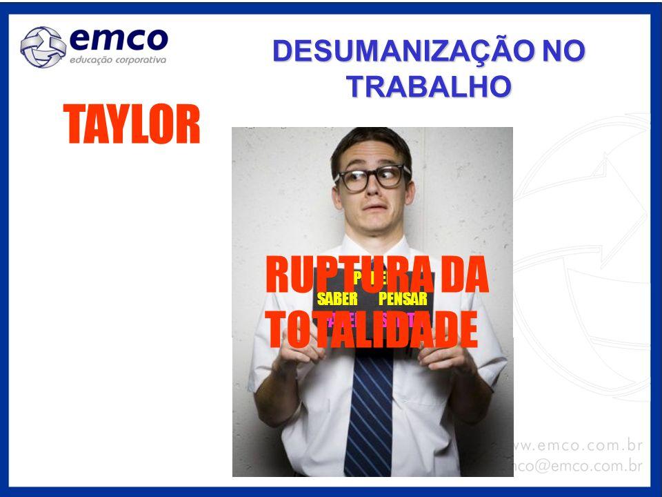 DESUMANIZAÇÃO NO TRABALHO TAYLOR PODER SABERPENSAR FAZERSENTIR RUPTURA DA TOTALIDADE