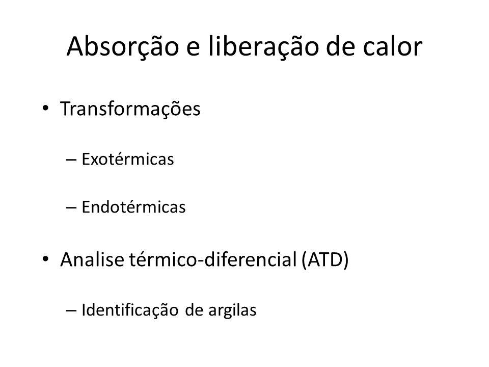Absorção e liberação de calor Transformações – Exotérmicas – Endotérmicas Analise térmico-diferencial (ATD) – Identificação de argilas