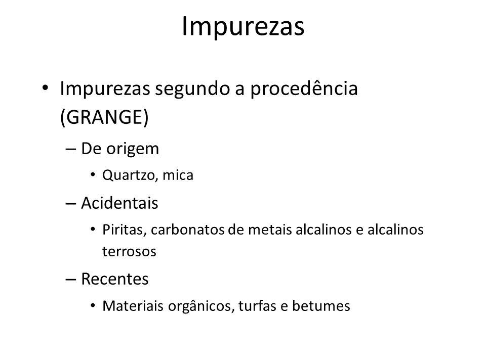 Impurezas Impurezas segundo a procedência (GRANGE) – De origem Quartzo, mica – Acidentais Piritas, carbonatos de metais alcalinos e alcalinos terrosos – Recentes Materiais orgânicos, turfas e betumes