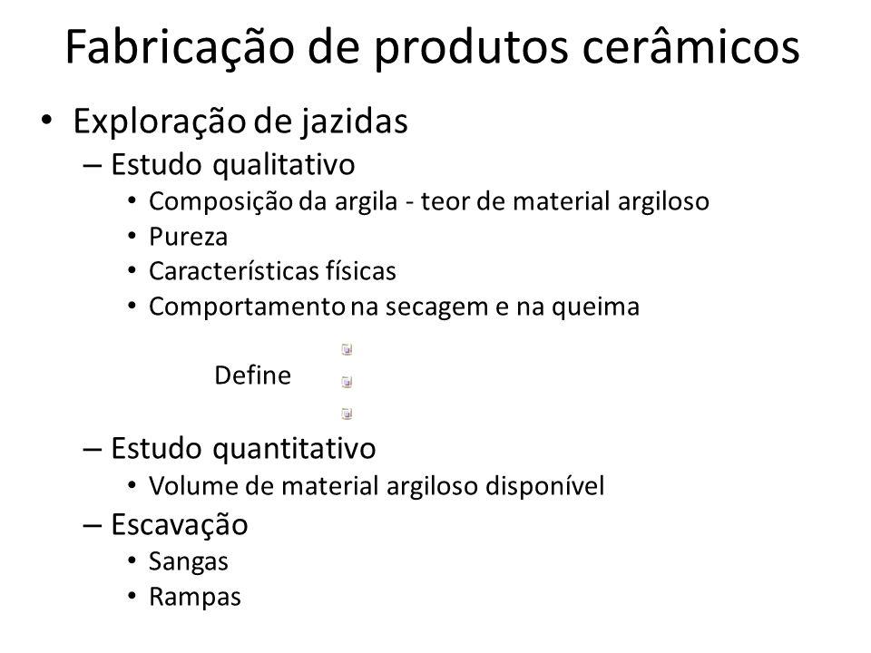 Exploração de jazidas – Estudo qualitativo Composição da argila - teor de material argiloso Pureza Características físicas Comportamento na secagem e