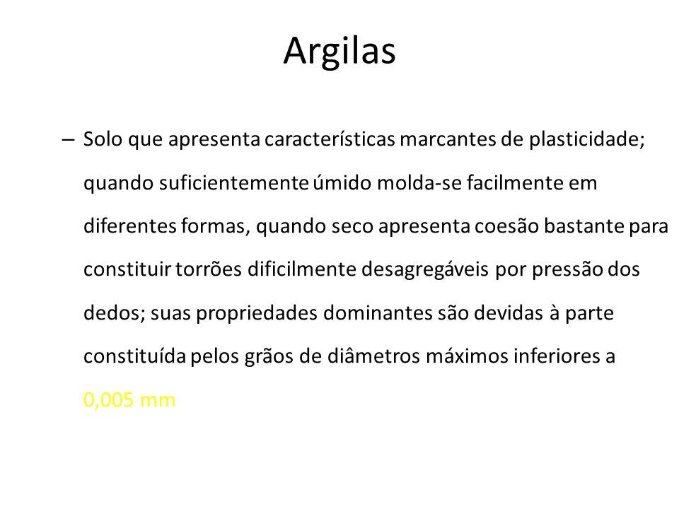 Argilas – Solo que apresenta características marcantes de plasticidade; quando suficientemente úmido molda-se facilmente em diferentes formas, quando