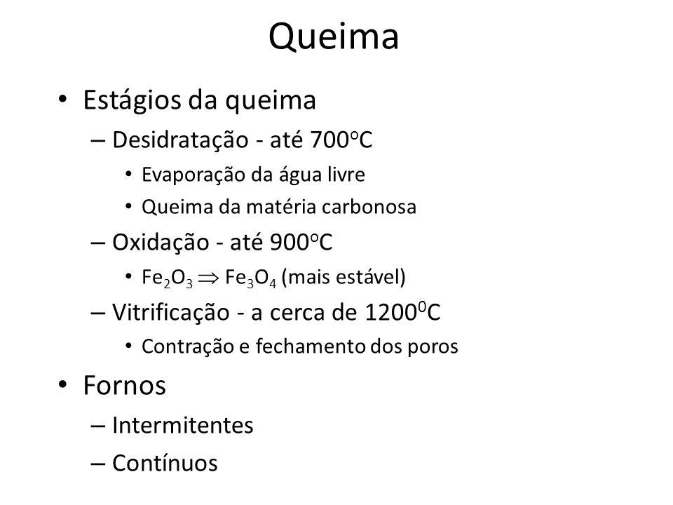 Queima Estágios da queima – Desidratação - até 700 o C Evaporação da água livre Queima da matéria carbonosa – Oxidação - até 900 o C Fe 2 O 3 Fe 3 O 4
