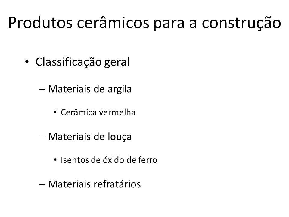 Produtos cerâmicos para a construção Classificação geral – Materiais de argila Cerâmica vermelha – Materiais de louça Isentos de óxido de ferro – Materiais refratários
