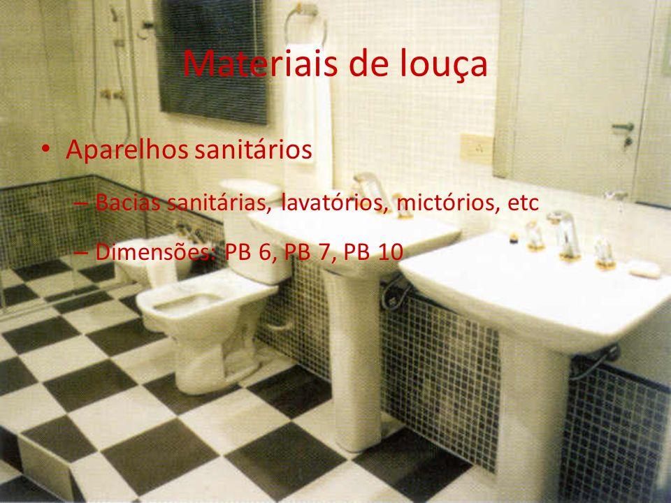Materiais de louça Aparelhos sanitários – Bacias sanitárias, lavatórios, mictórios, etc – Dimensões: PB 6, PB 7, PB 10