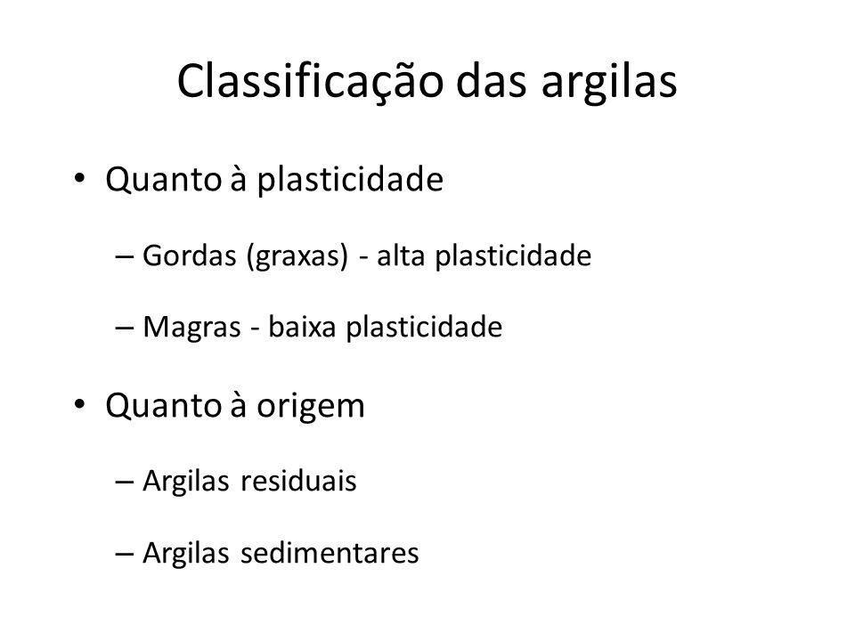 Classificação das argilas Quanto à plasticidade – Gordas (graxas) - alta plasticidade – Magras - baixa plasticidade Quanto à origem – Argilas residuais – Argilas sedimentares