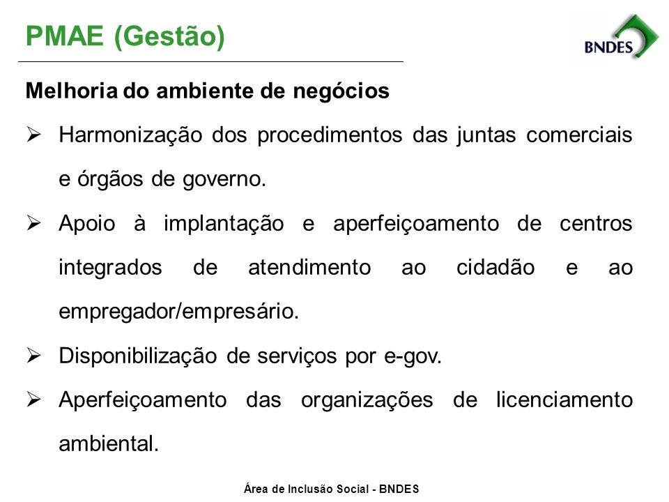 Área de Inclusão Social - BNDES PMAE (Gestão) Melhoria do ambiente de negócios Harmonização dos procedimentos das juntas comerciais e órgãos de govern