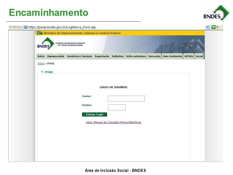 Área de Inclusão Social - BNDES Encaminhamento