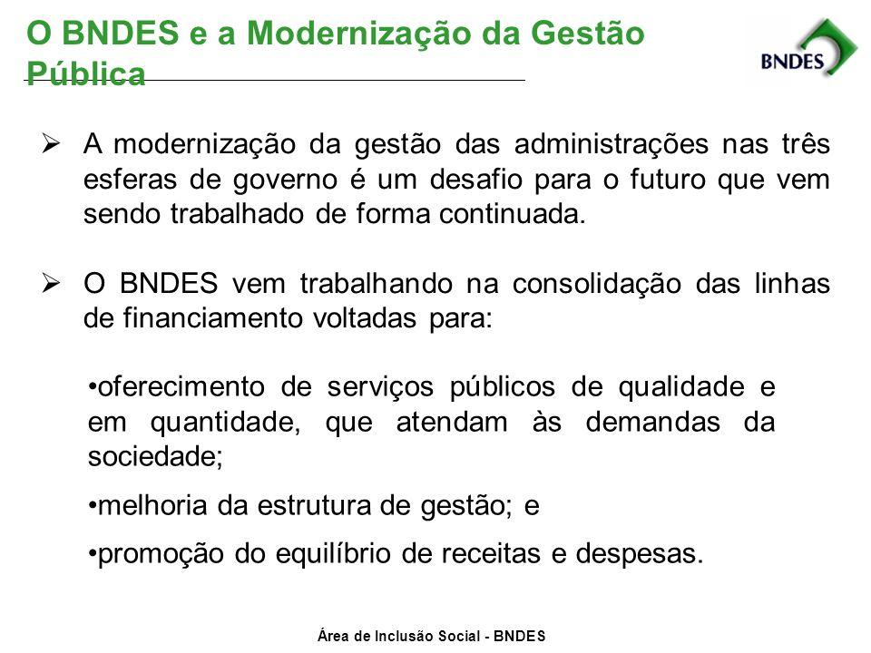 Área de Inclusão Social - BNDES O BNDES e a Modernização da Gestão Pública A modernização da gestão das administrações nas três esferas de governo é u